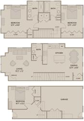 3 bed 2.5 Bath 1608 square feet floor plan D